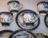 Set of 6 Dragonware Demitasse Cups and Saucers, Wales China, Japan