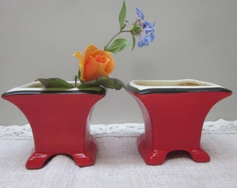 Pair of Vintage Red Asian Inspired Ceramic Planters or Flower Garden Pots 1940s 1950s