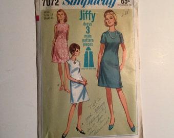 Vintage Simplicity Pattern # 7072  Size 14 Bust 34 1960s dress pattern