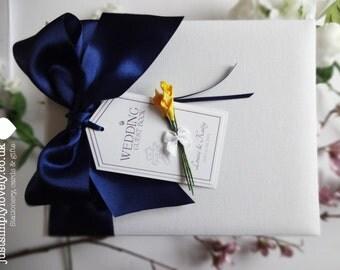 Beautiful Wedding Guest Book Navy & Yellow Calla Lilies
