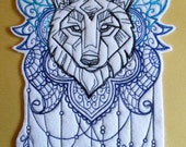 Large Wolf  Applique Patch, Majestic Leader of the Wolf Pack, Ornate Designs with Feathers, Iron On or Sew On , Biker Patch