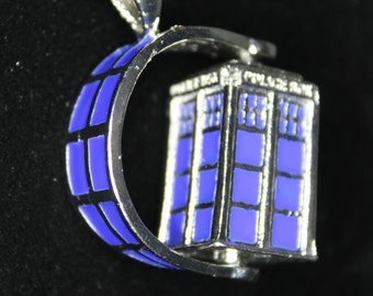 Spinning TARDIS Doctor Who Inspired Necklace