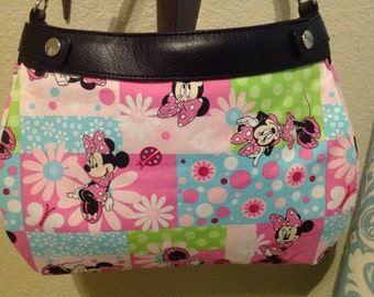 Minnie Mouse Pink and sweet spring green squared SUITE skirt Purse Skirt HANDMADE Thirty One skirt