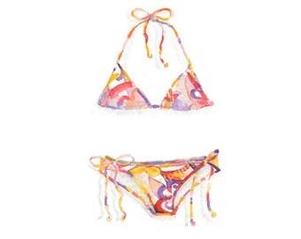 Watercolor Pucci Bikini, Pucci Bikini Print, Bikini Print