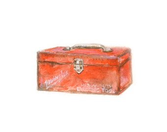 Watercolor Toolbox, Vintage Toolbox Print, Red Toolbox Print, Retro Red Toolbox,Art for HimPrint