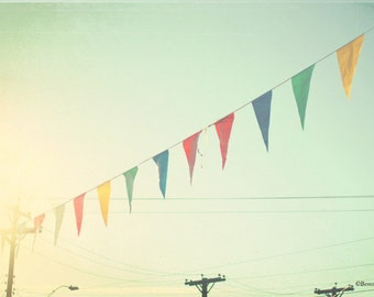 sky, bunting, flags, sunshine, fine art photography,