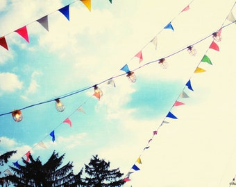 carnival, sky, flags, bunting, lights, summer,  fine art photography