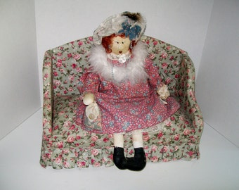 Vintage Upholstered Doll Couch Rose Chintz Fabric Pleated Ruffle
