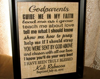 Personalized Godparent Gift Godparent Sign Godmother Godfather Burlap Printed Burlap Sign Gift Personalized Baptism Christening Gift