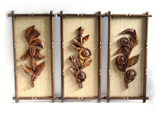 polynesian carved wood wall art set hawaiian tropical island get a way bamboo framed