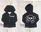 Kids Pirate jacket, Skull hoodie, Toddler hoodie, Baby jacket, Custom jacket, Custom hoodie, School, fall, rock, punk, skull, Rock baby