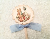 Baby Shower Cupcake Pick Toppers Labels-Nursery Rhyme Storybook Theme Showers-Beatrix Potter Cake Toppers-Set of 12