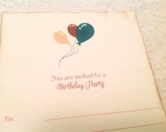 Fill in Blank Invitations-Birthday Balloon Invites-Set of 10