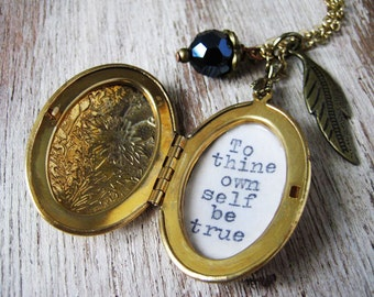 Inspirational locket jewelry with quote by shakespeare to thine own self be true pendant necklace for women inspiring pendant jewelry