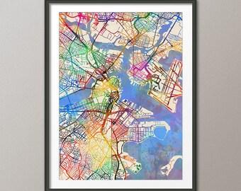 Boston Map, Boston Massachusetts City Street Map, Art Print (2056)