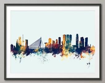 Rotterdam Skyline, Rotterdam The Netherlands Cityscape Holland, Art Print (2138)