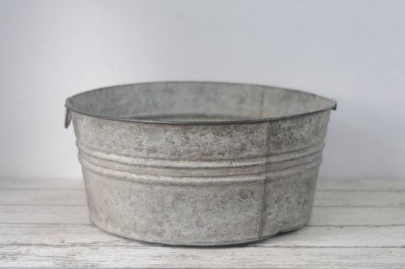 Galvanized tub wash tub 3 bucket metal handles metal mop for Large metal wash tub