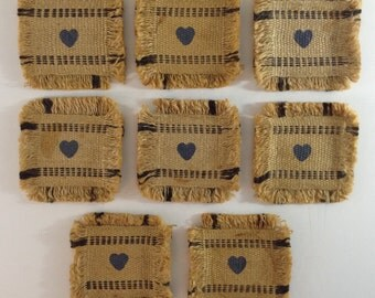 8 Burlap Coasters with a Heart