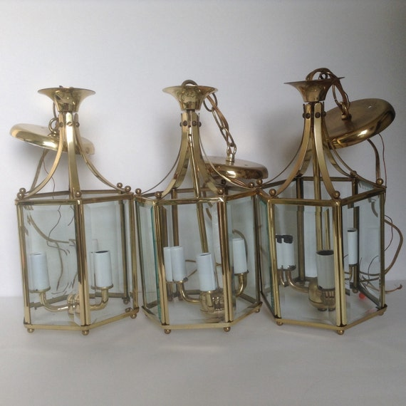 2 Vintage Glass And Brass Hanging Ceiling Light By NanAndPopsAttic