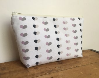 Zipper Pouch, Pale Pink and Gray Hearts Cosmetic Pouch, Cute Zipper Pouch, Back to School