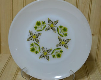 Vintage Anchor Hocking Fire King Oven Proof Suburbia Dinner Plate Meadow Green Pattern Made in USA
