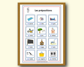 FRENCH PREPOSITIONS POSTER,Learn the Prepositions in French with School Poster,French Language Classroom Poster,School Resources