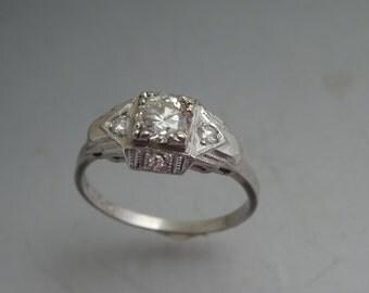 Platinum and Diamonds Art Deco Engagement Ring