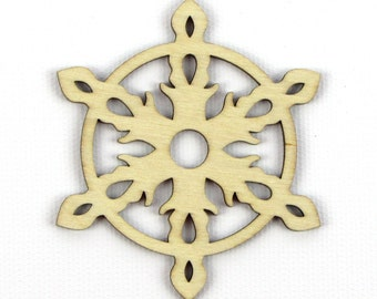 Flaming Star - Laser Cut Wood Snowflake in Multiple Sizes and Quantity Discounts