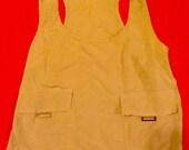 70's Camel Colored Chiffon Tank Blouse w/ Drawstring Hem-Small