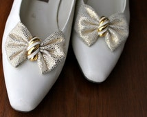 White Wedding Shoes Gold Bow Vintage Leather Dress Shoes Bride Bridesmaid Shoes Accessories Women' Vintage Gold High Heels Pumps Gift Ideas