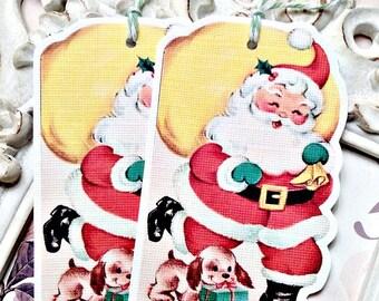 Santa with Pup Gift Tag (6) Christmas Favor Tag-Holiday Tags-Santa Embellishment-Christmas Gift Tags-Santa Treat Tag-Santa Die Cut-Retro Tag