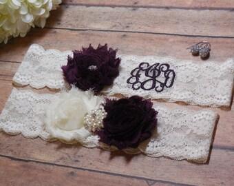 Eggplant Garter, Monogrammed Garter, Monogram, Personalized garter, Custom Garter, Purple Garter, Garter, Wedding, Bride, Bridal, Initials