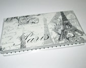 CHECKBOOK COVER Paris Eiffel Tower fabric & PVC vinyl protector, travel accessory destination wedding favor black gray checkbook wallet