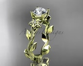 Unique 14kt  yellow gold diamond floral wedding ring,engagement ring ADLR223