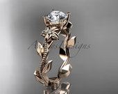 Unique 14kt  rose gold diamond floral wedding ring,engagement ring ADLR223