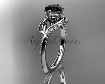 Unique 14kt white gold diamond leaf and vine wedding ring,engagement ring with black diamond center stone, ADLR225