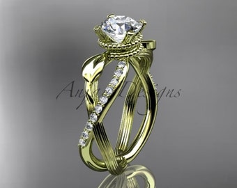 """14kt yellow gold diamond leaf and vine wedding ring, engagement ring with """"Forever One"""" Moissanite center stone ADLR70"""
