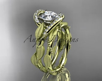 14kt yellow gold diamond leaf and vine wedding ring, engagement set ADLR64S