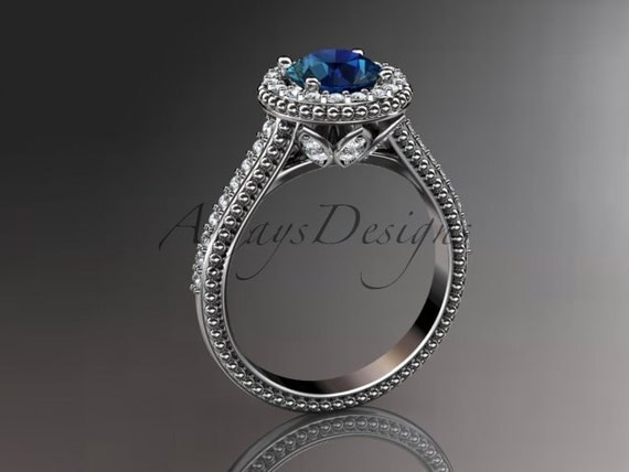 14kt  white gold diamond floral wedding ring, engagement ring with blue sapphire center stone ADLR101