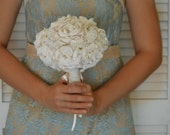Ivory Wedding Bouquet Peony Flowers Rustic Burlap and Lace Shabby Chic Wedding Keepsake Alternative Bouquet Bridesmaid Bouquet Custom