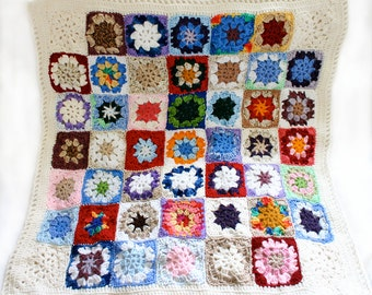 Custom Baby Blanket- Crocheted Blanket- Pick Your Colors- Granny Squares- 7 Squares x 8 Squares- Made To Order