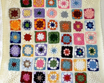 Multicolor Baby Blanket- Granny Square Crochet- Made To Order- Hand Crocheted- Granny Squares- Boy Or Girl- Baby Nursery Decor