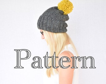 Knitting PATTERN, knitted slouch hat, slouchy hat with pom pom || The Krysta
