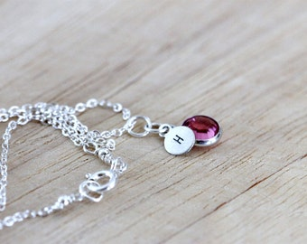 Mothers Personalized Birthstone Initial Necklace | Tiny Sterling Silver  Initial Birthstone Necklace | Push Present | Girlthree Jewelry