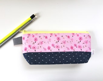 Pink Floral Ditsy and Chambray Flat Bottom Pencil Case (handmade philosophy's pattern)