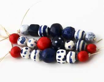 Handmade Ceramic Beads, African beads, Beads from South Africa, Clay beads, Artisan Beads, 3 bead strands, ceramic beads