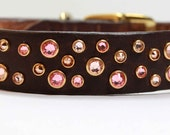 "3/4"" or 1"" Wide Rhinestone Dog Collar with Swarovski Crystals, Brown Leather, Pink Crystal Dog Collar"