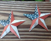 Primitive Americana Rustic Metal Stars 2 pieces Decor Ornaments Wreaths