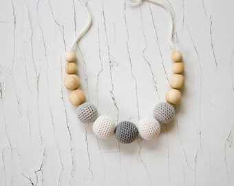 Petite Teething / Babywearing / Breastfeeding Necklace, Neutral Colors, Wooden Teething Toy - FrejaToys