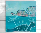 Original acrylic and mixed media painting, wall canvas, wall art - Cornish grasses by Suzielou